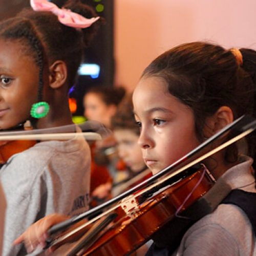 WHIN students performing in the orchestra
